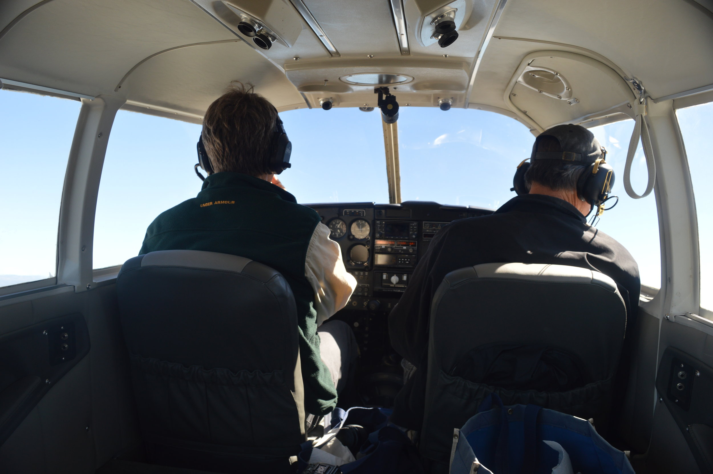 Cockpit of the Cherokee Six (Scott Bruce, left, and Eric Bruce, right)