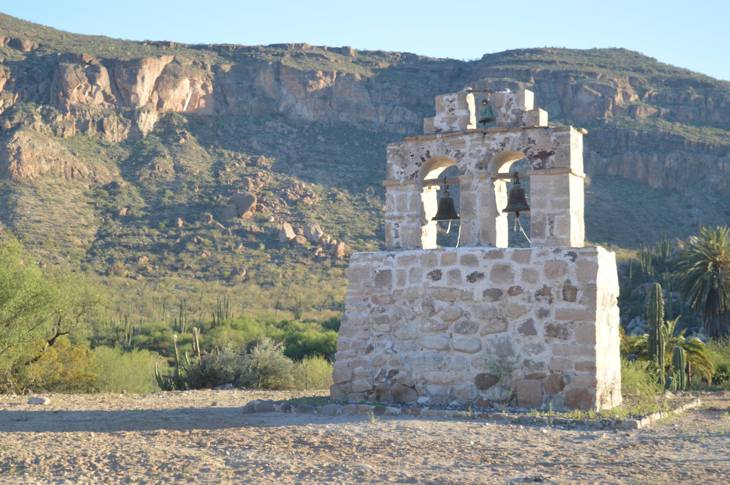 The bell tower at Santa Gertrudis Mission