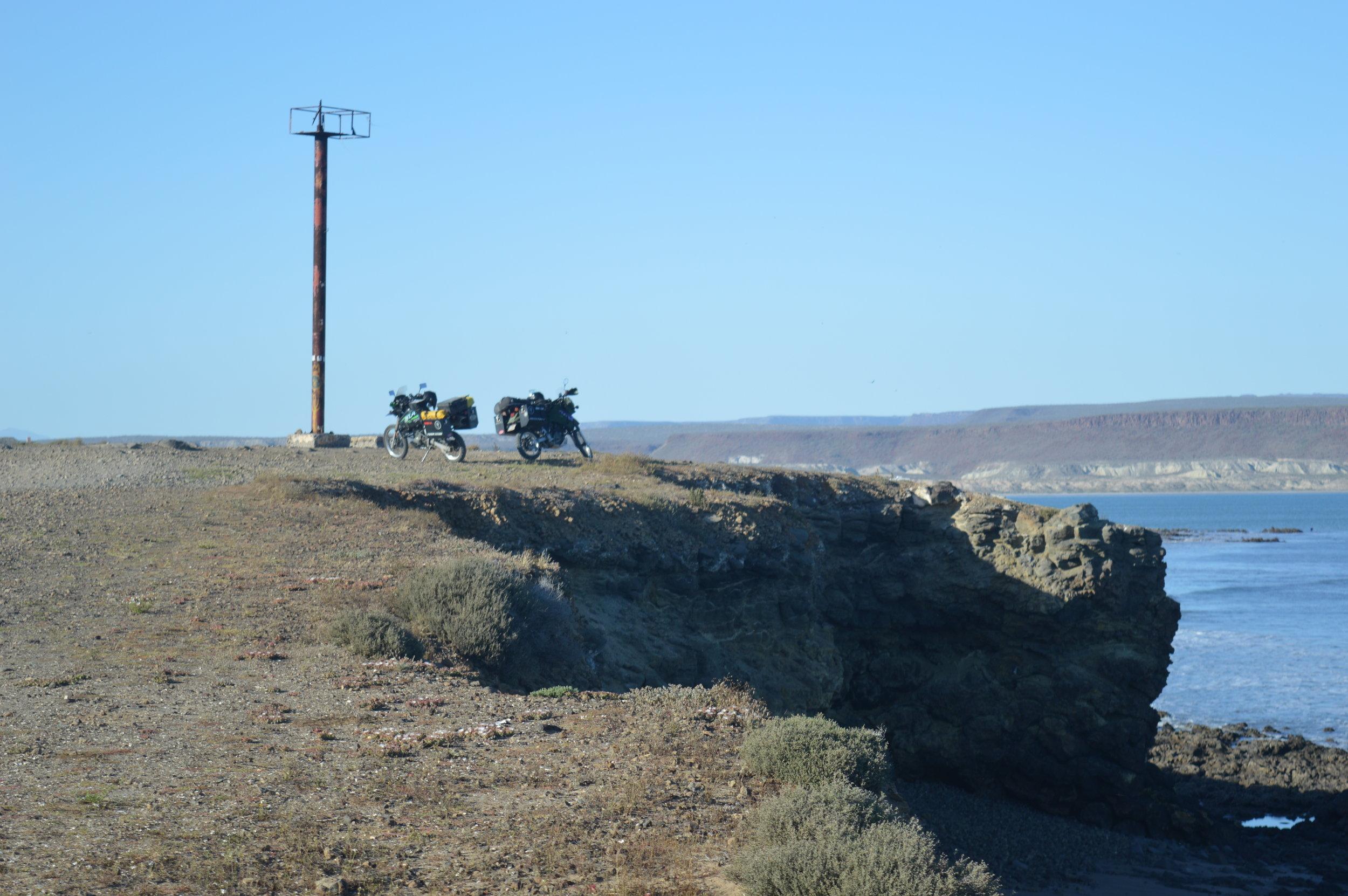 Bikes on bluff overlooking Scorpion Bay (San Juanico)
