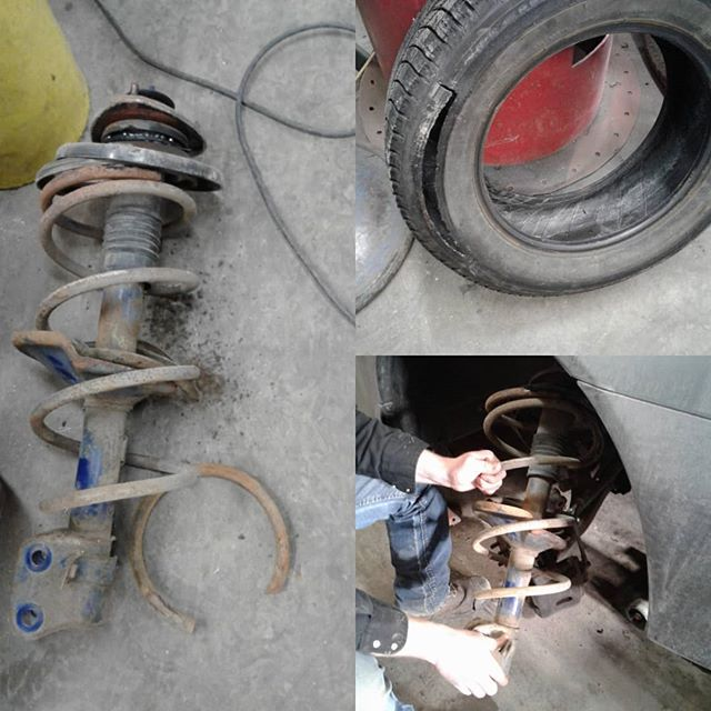 Broken strut spring punctures front tire, causing a blow out and loss of steering control. Fortunately the vehicle was traveling at low speed and no one was injured. Regular inspections by a professional mechanic can avoid this from happening we offer a safety inspection with every visit. #repairshop #suspension #garage