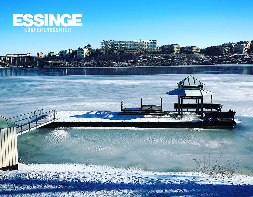 Bryggan på Essinge Konferenscenter vintertid.