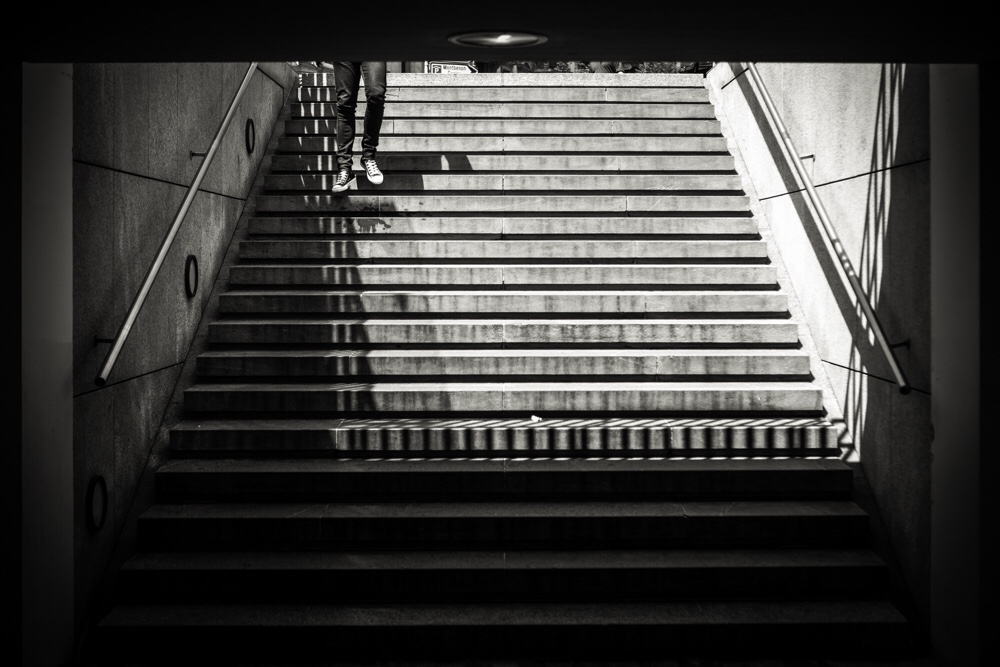Man who run in stair