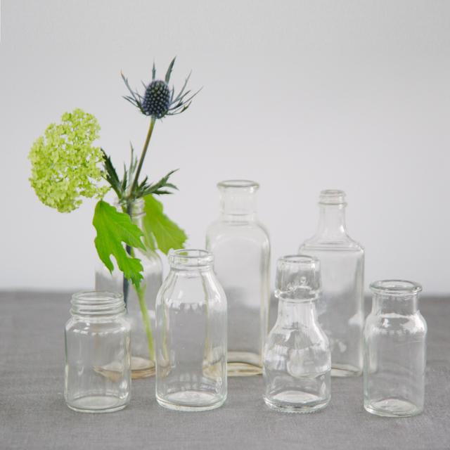 GLASS BOTTLES - CLEAR - mini & small