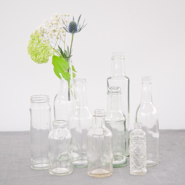 GLASS BOTTLES - CLEAR -  small, ornate & medium