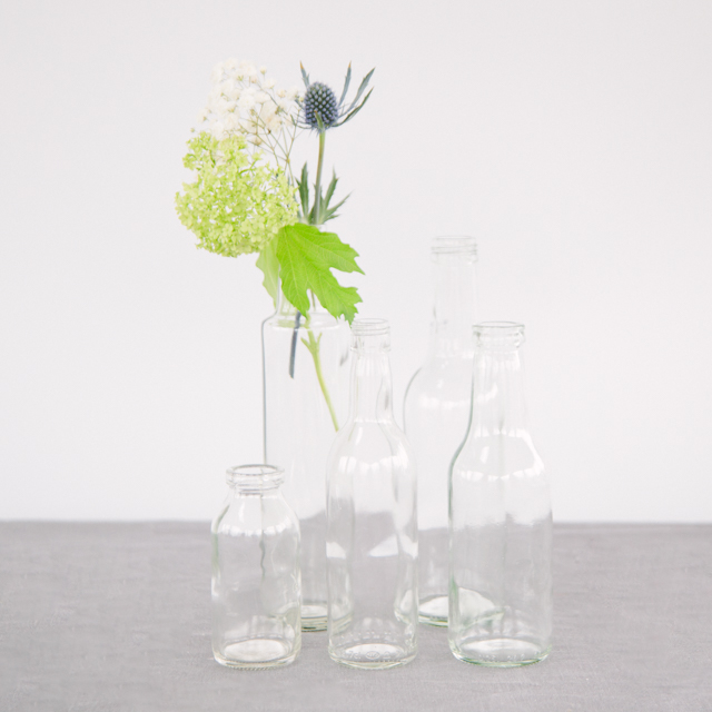 GLASS BOTTLES - CLEAR - medium, large & x-large
