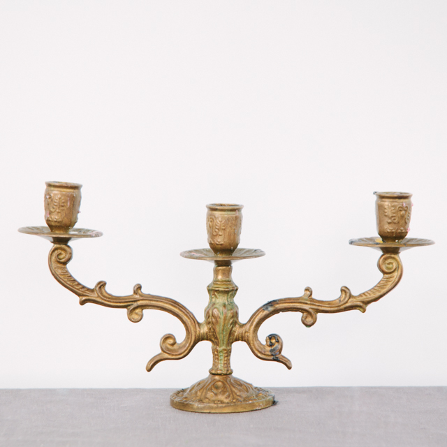 CANDLEABRAS - BRASS ORNATE 3 TIER - large