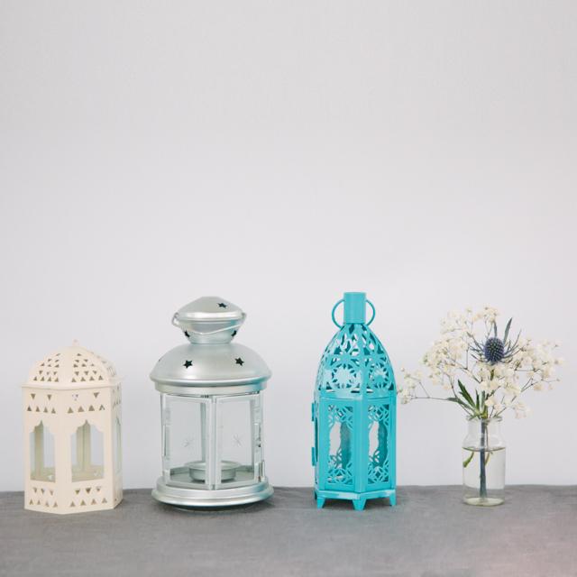 LANTERNS - WHITE, SILVER & COLOUR - x-small & small