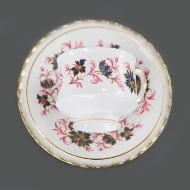 VINTAGE CHINA - NAVY & PURPLE FLOWER WITH PINK LEAF  - trio