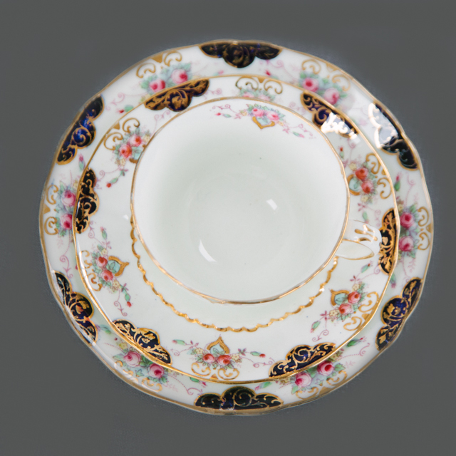 VINTAGE CHINA - PINK FLOWER WITH NAVY DETAIL- trio