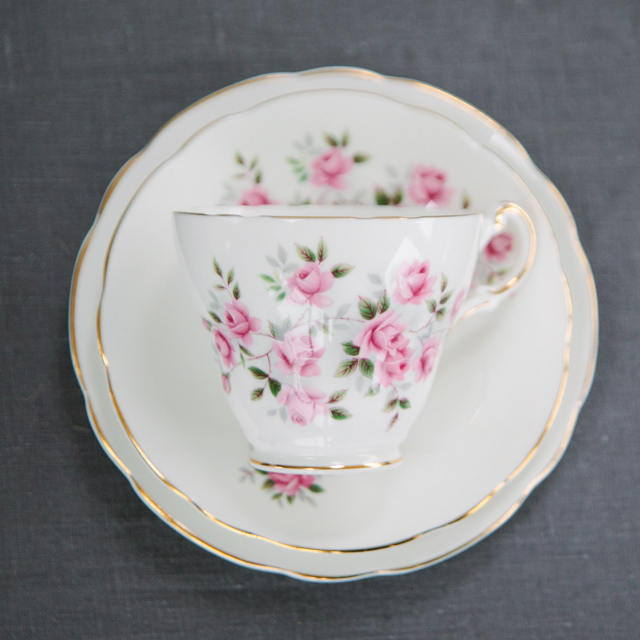 VINTAGE CHINA - PINK FLOWER WITH GREEN LEAF AND GOLD RIM - trio