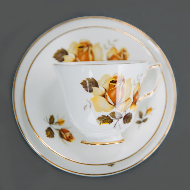 VINTAGE CHINA - YELLOW FLOWER WITH BROWN LEAF - trio