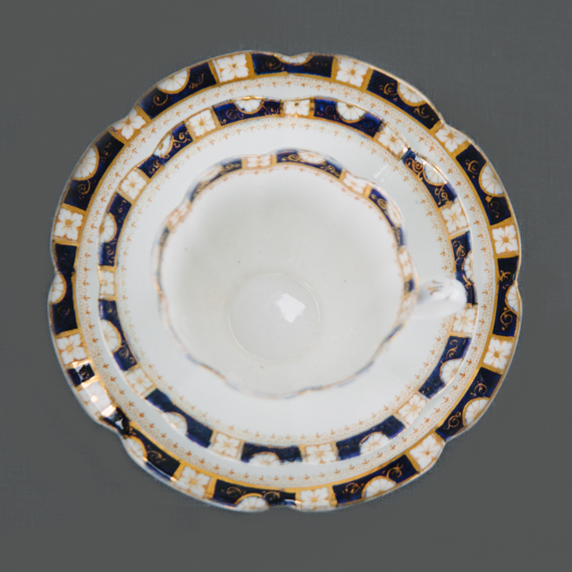 VINTAGE CHINA - NAVY AND GOLD DETAIL - trio