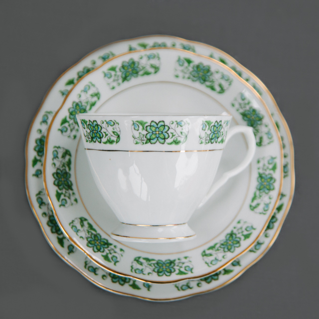 VINTAGE CHINA -  GREEN FLOWER WITH GREEN LEAF AND GOLD RIM - trio