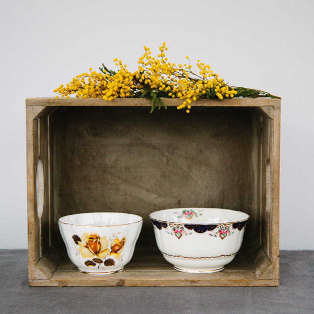 JUGS & SUGAR BOWLS - YELLOW FLOWER WITH BROWN LEAF BOWL -  small     PINK FLOWER WITH NAVY DETAIL BOWL - medium