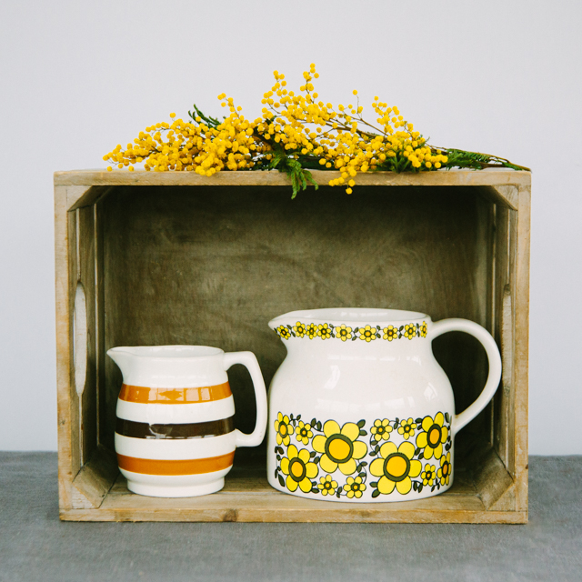 JUGS & SUGAR BOWLS - YELLOW AND BROWN STRIPE - medium    YELLOW FLOWER - large