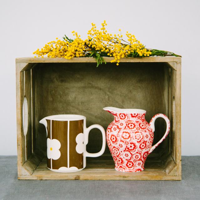 JUGS & SUGAR BOWLS -  BROWN WITH WHITE FLOWER JUG & RED FLOWER JUG - medium