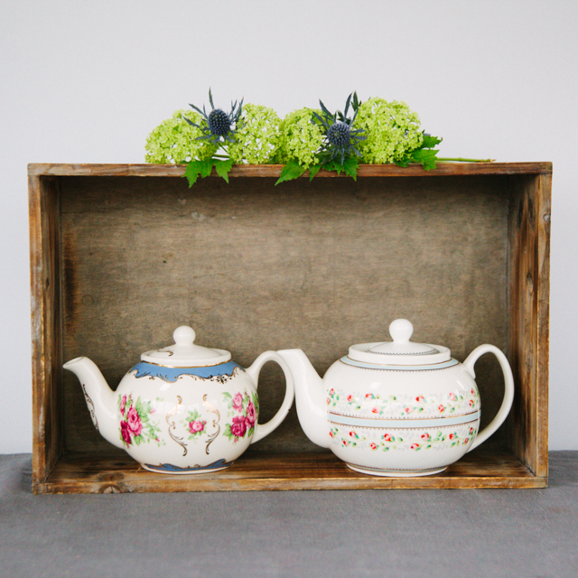 TEAPOTS & COFFEE POTS - PINK FLOWER WITH BLUE DETAIL TEAPOT - small     RED & GREEN FLOWER WITH LIGHT BLUE AND GOLD DETAIL TEAPOT - medium