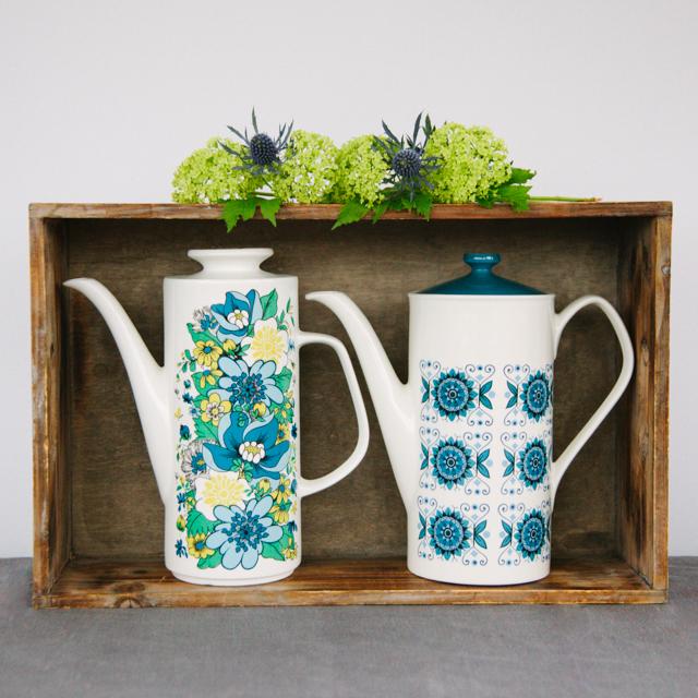 TEAPOTS & COFFEE POTS - BLUE & YELLOW FLOWER COFFEE POT - large     BLUE & NAVY FLOWER COFFEE POT - large