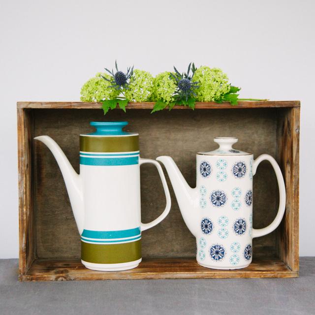 TEAPOTS & COFFEE POTS - BLUE & GREEN STRIPE COFFEE POT - large     BLUE & NAVY FLOWER COFFEE POT - medium