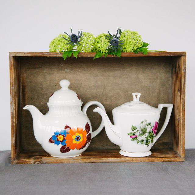 TEAPOTS & COFFEE POTS - ORANGE & BLUE FLOWER TEAPOT - medium     PINK & GREEN FLOWER TEAPOT - medium