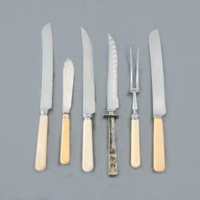 SILVERWARE - VINTAGE KNIVES & SERVING FORK - ORNATE & PLAIN - large & x-large