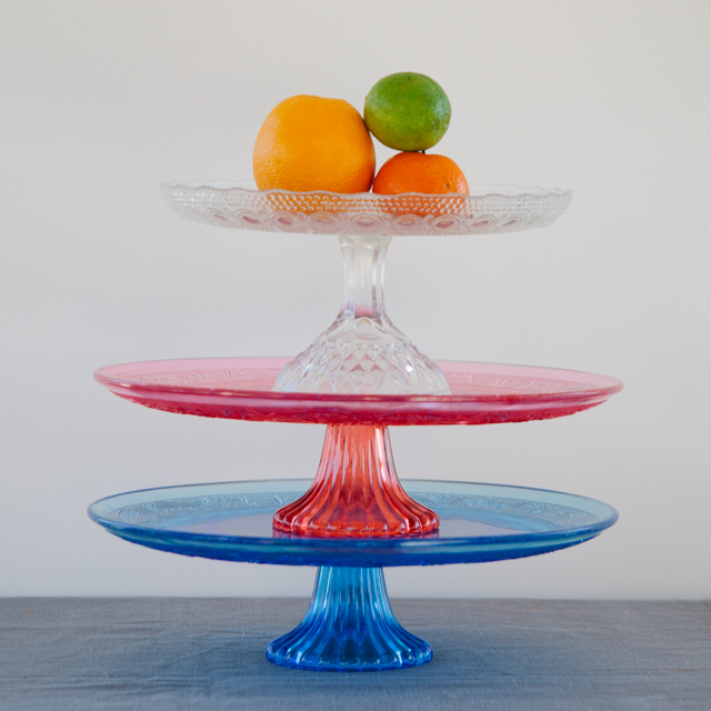 CAKE STANDS & PEDESTAL DISHES - BLUE, RED & CLEAR CAKE STANDS - ONE TIER - medium & large