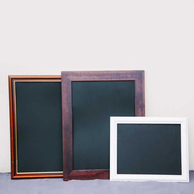 BLACKBOARDS - ASSORTED - WOODEN, BLACK, WHITE & GOLD - small, medium, large & x-large