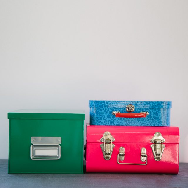 BOXES - METAL - GREEN, PINK & BLUE - small & medium
