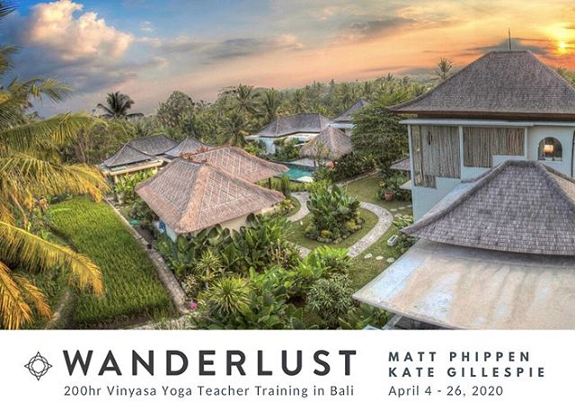 Announcing our 2020 dates for the Wanderlust 200HR Yoga Teacher Training in Bali, April 4th-26th. Join @kategillespieyoga and I for 22 days of immersive exploration in all things Yoga!! This is truly our favorite thing to do and the trip we look forward to the most throughout the year. So stoked to be teaching this years program at the gorgeous and stunning @theshalabali in Ubud. If you're interested in expanding your practice or becoming a teacher, or if you're a teacher who wants to up your game, this training is for you. DM me with any question/queries and check link in bio. 🌴🧘🏻♂️🕉 #yogateachertrainingcourse #baliyogateachertraining #yogainbali