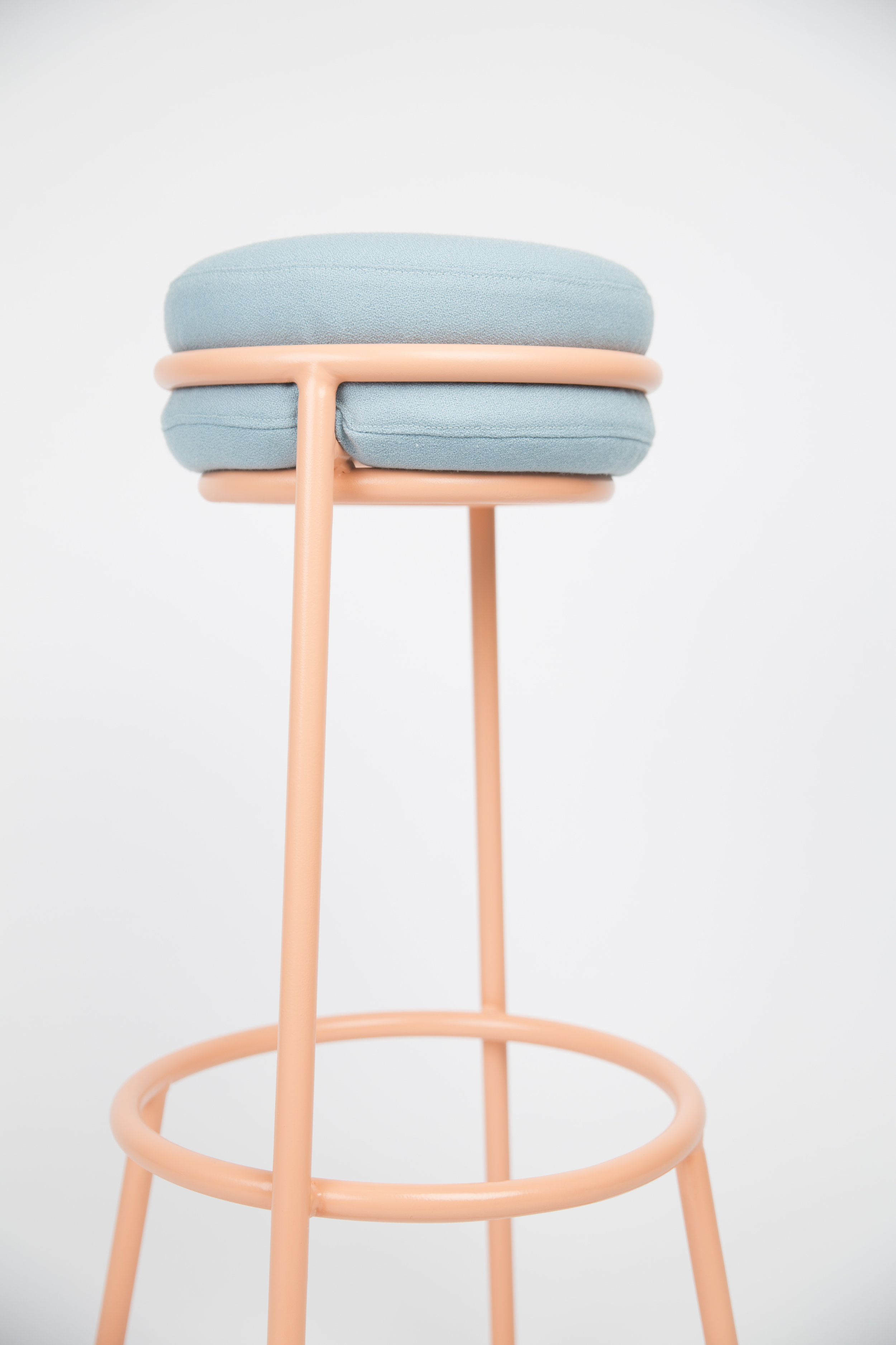 Muffin Top Barstool, 2017   Materials: Powercoated frame and Gabriel Fabric: Gaja C2C  Muffin Top is a barstool that has been designed with versatility in mind.
