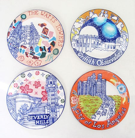 "Karen Koblitz LA Landmark Series Plates.  Each plate is 8.25"" and is made of low fire clay and glaze. The plates are titled: Beverly Hills, City of Los Angeles, The Watts Towers and Griffith Observatory."