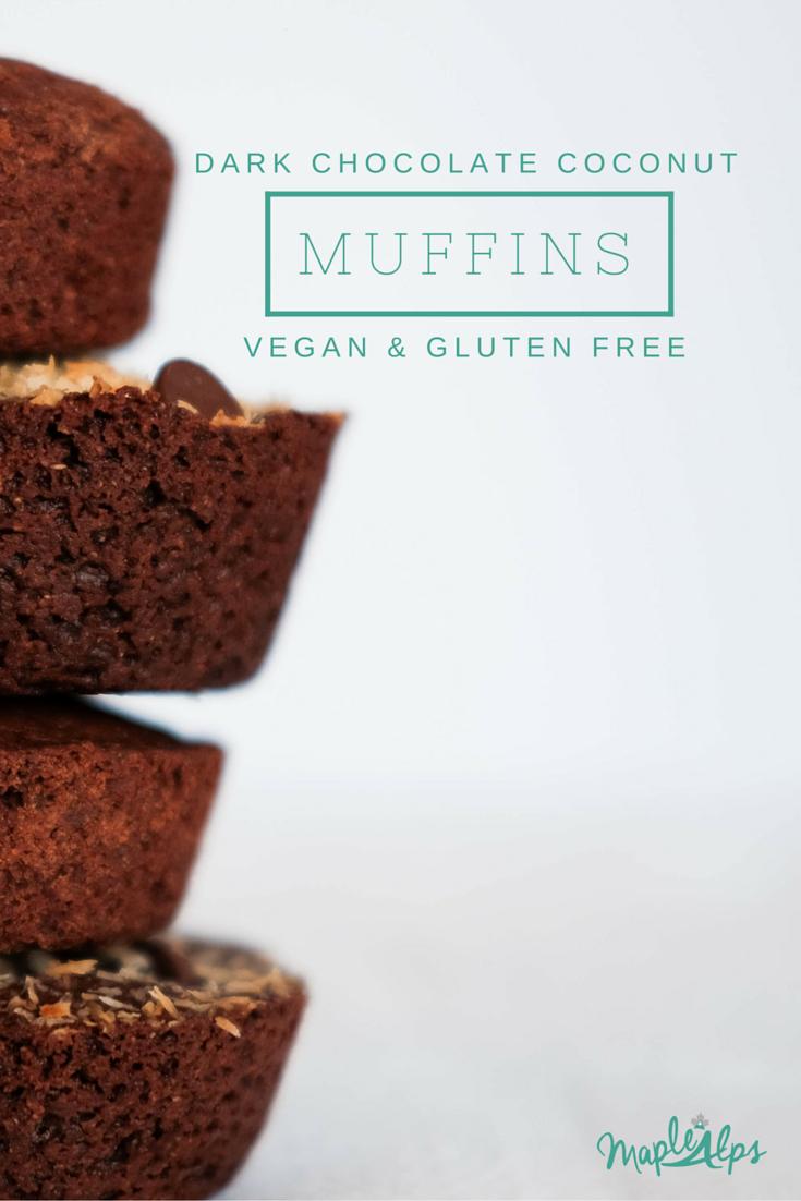 Dark Chocolate Coconut Muffins (vegan & gluten free)