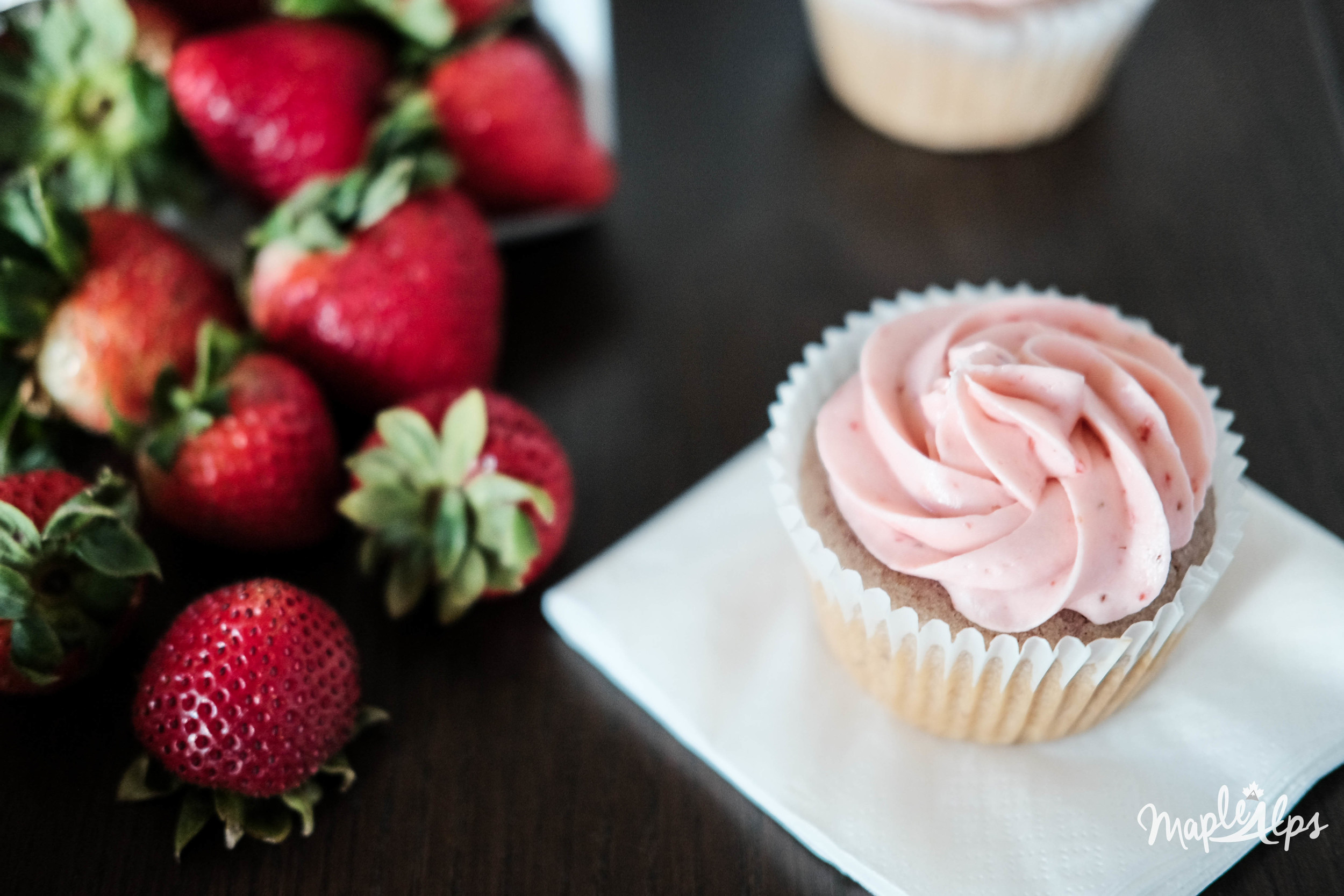 Easy Moist and Delicious vegan strawberry cupcakes! #MapleAlps