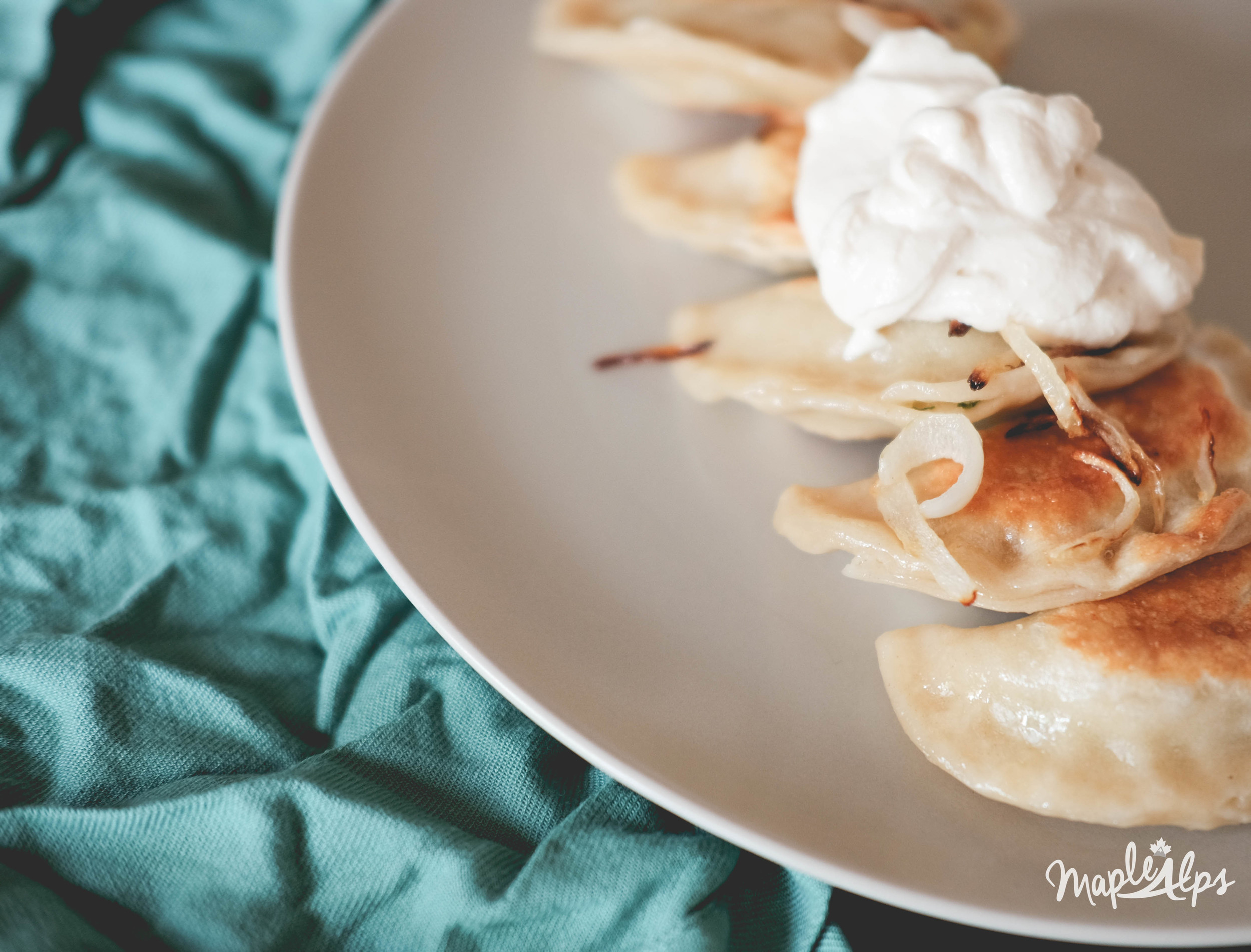 Vegan potato and spinach pierogies from Maple Alps