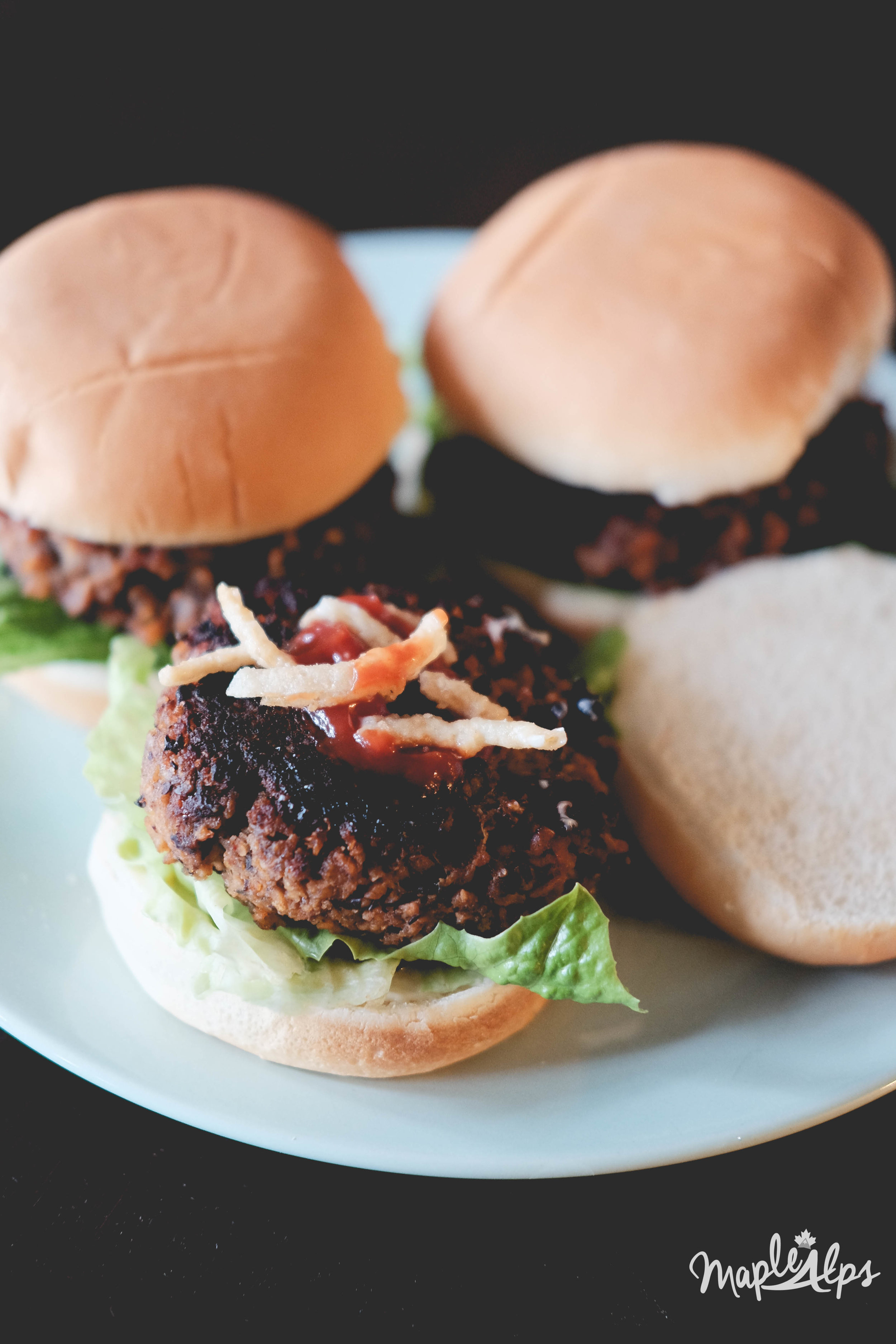 """Meaty"" Black Bean Vegan Burgers. Delicious! | www.maplealps.com"