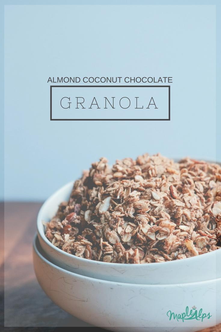 Almond Coconut Chocolate Granola | www.maplealps.com