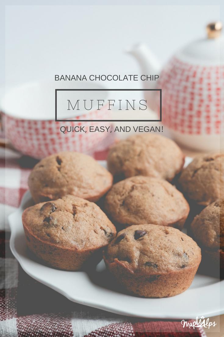 Banana Chocolate Chip Muffins (vegan) | www.maplealps.com