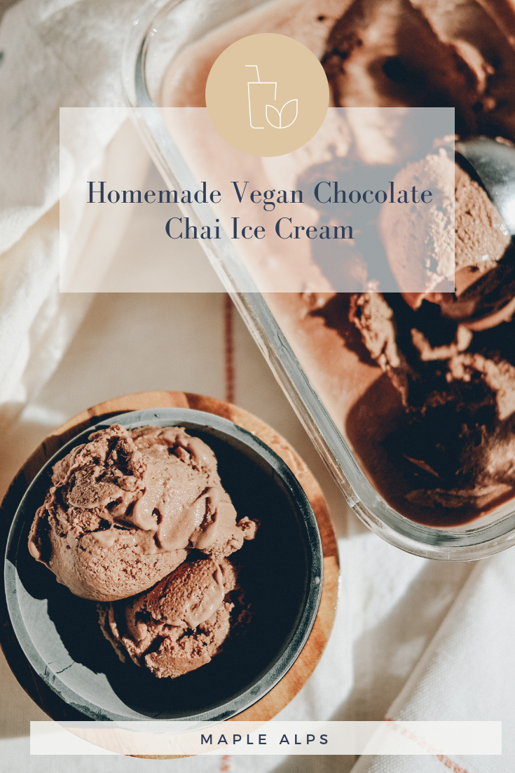 Chocolate Chai Ice Cream (vegan + gluten free + nut free) | www.maplealps.com