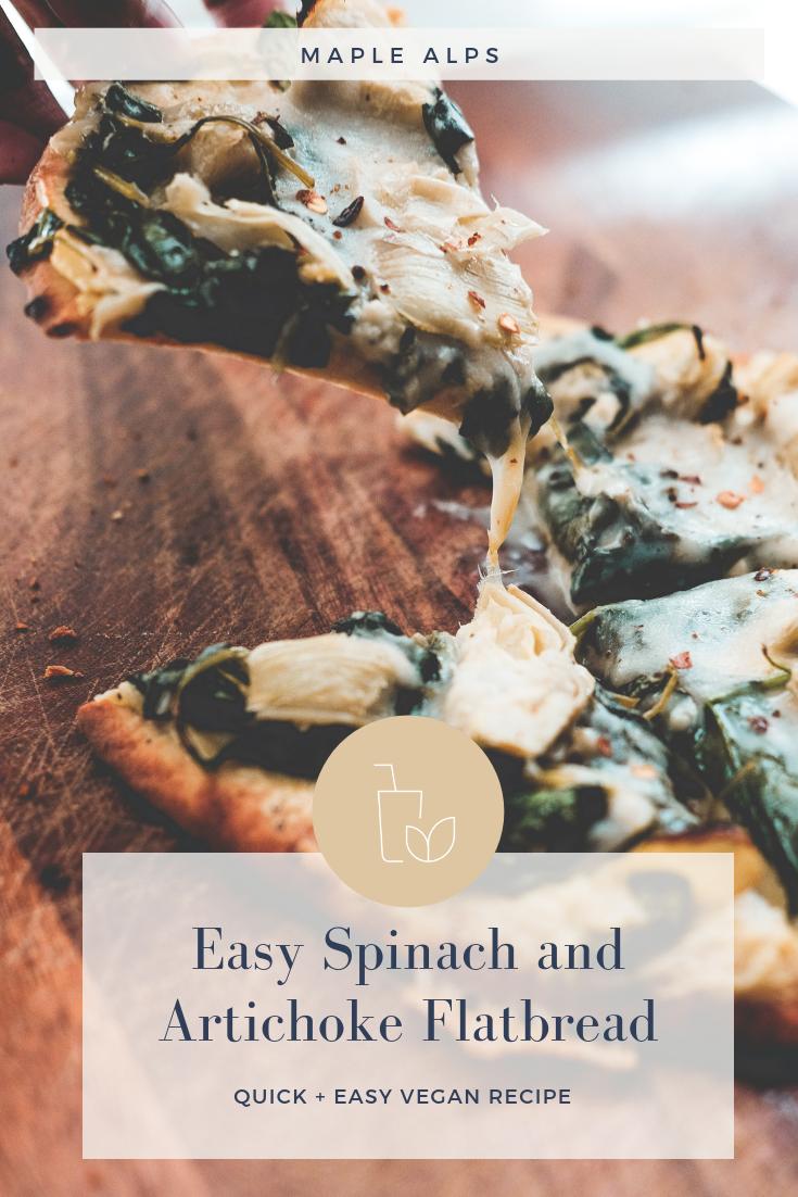 Spinach + Artichoke Flatbread (vegan) | www.maplealps.com
