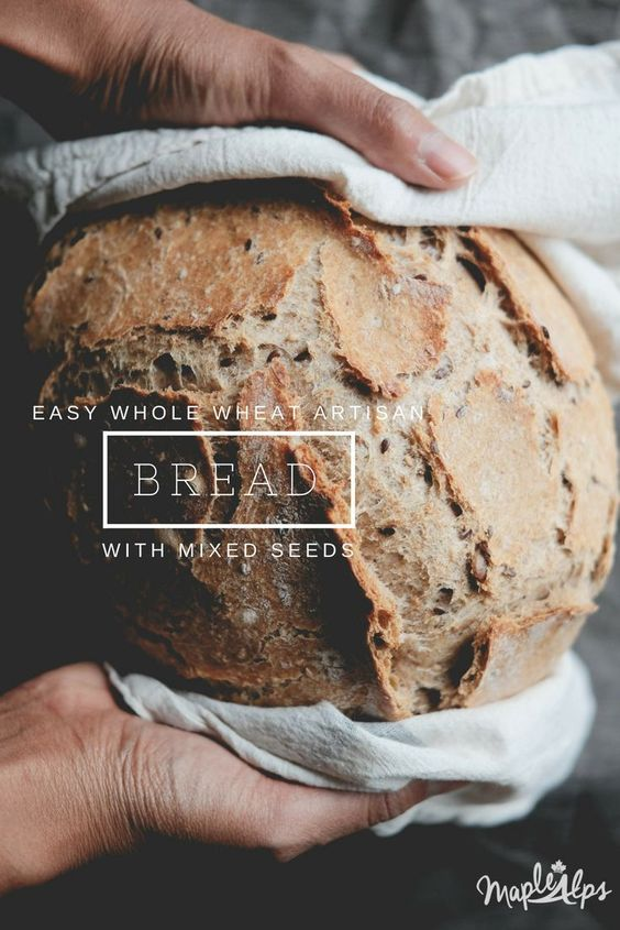 whole wheat artisan bread with seeds (vegan) | www.maplealps.com