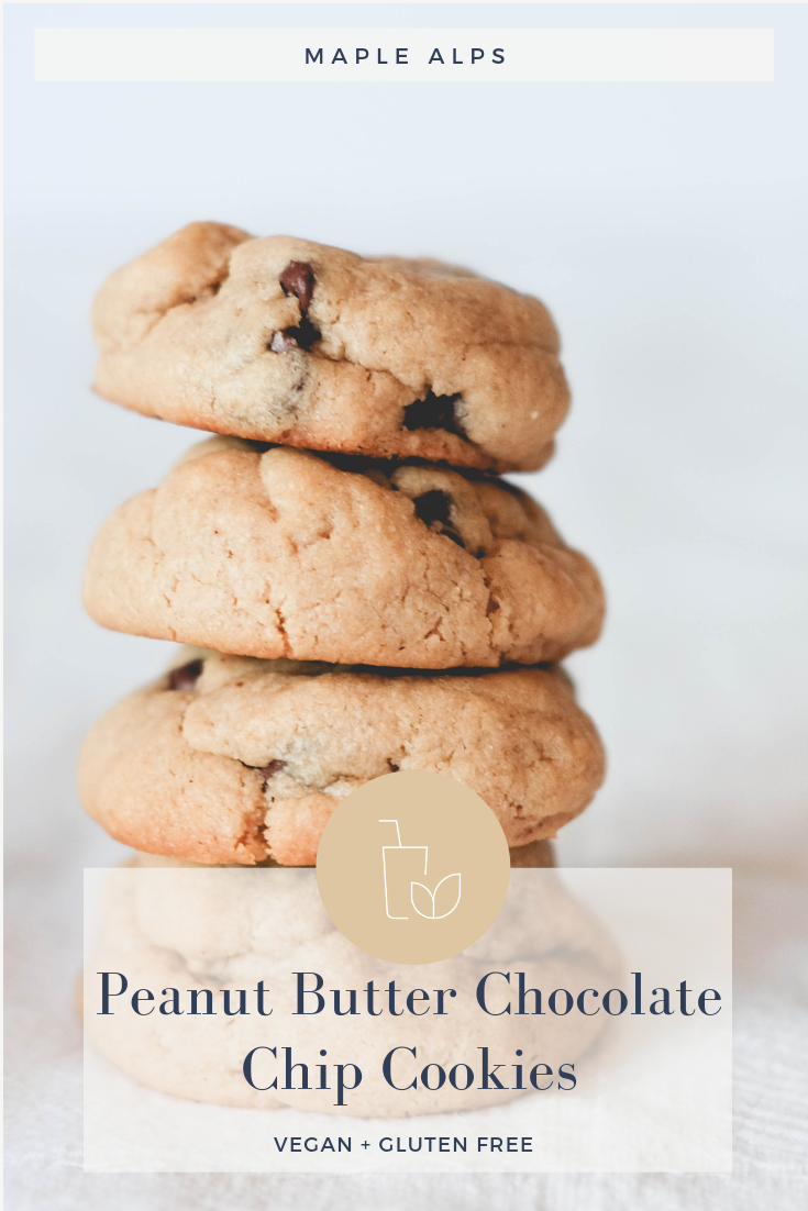 Peanut Butter Chocolate Chip Cookies (Vegan & Gluten Free) | www.maplealps.com