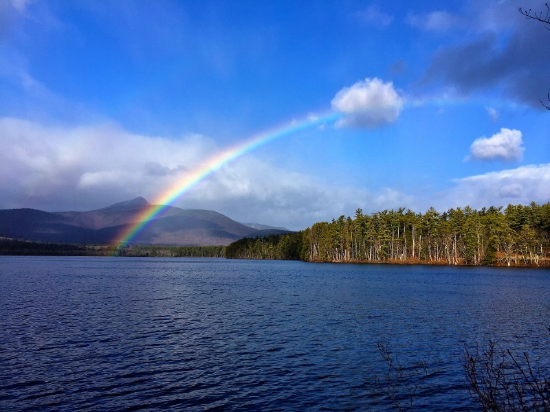 dennis Quin; rainbow over chocorua lake