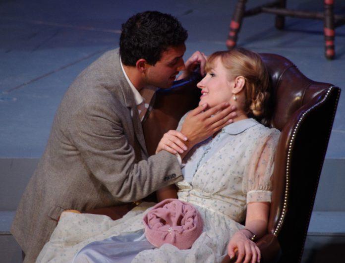 Rocco Rupolo (Rodolfo) and Natalya Gennadi (Mimì) in Highlands Opera Studio's La Bohème. Photo: John Martens