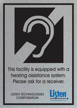 For those who struggle with their hearing, stop by the sound booth in the back of the auditorium to borrow a hearing assistance unit.