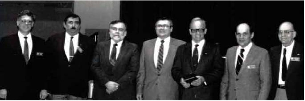 January 1989, Phil Crosby in Ft. Wayne. (L-R)      Dave Masanz, Les Flott, Chuck Roe,   Lowell Dusseau, Phil Crosby, Hank Gallmeyer, and Doyle Meyers.
