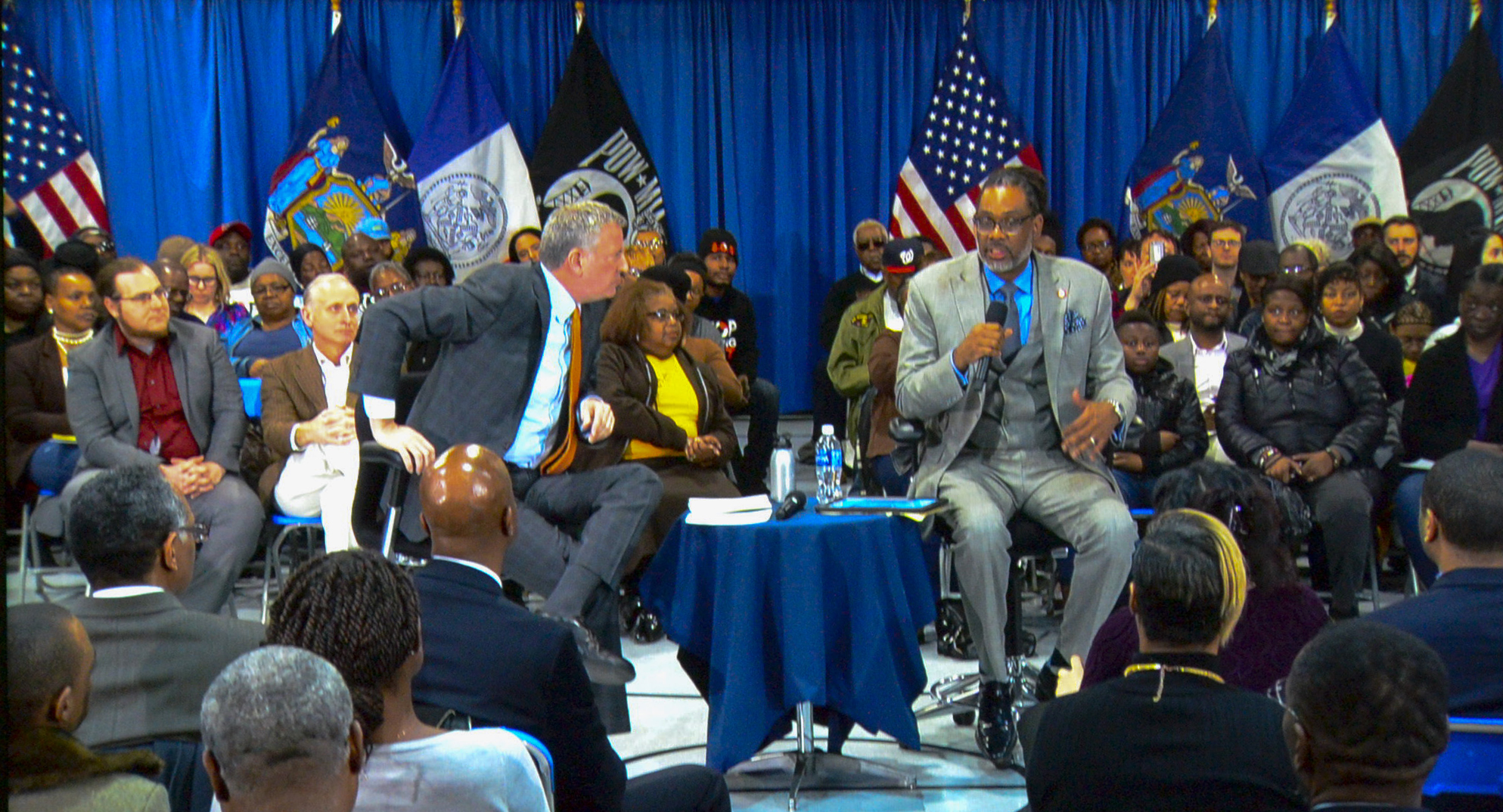 Mayor Bill De Blasio with Council member Robert Cornegy Jr as moderator