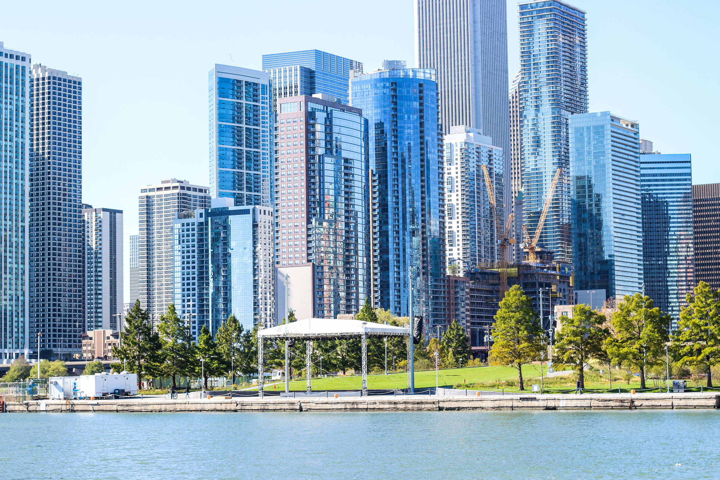 view from Navy Pier of the Chicago Skyline