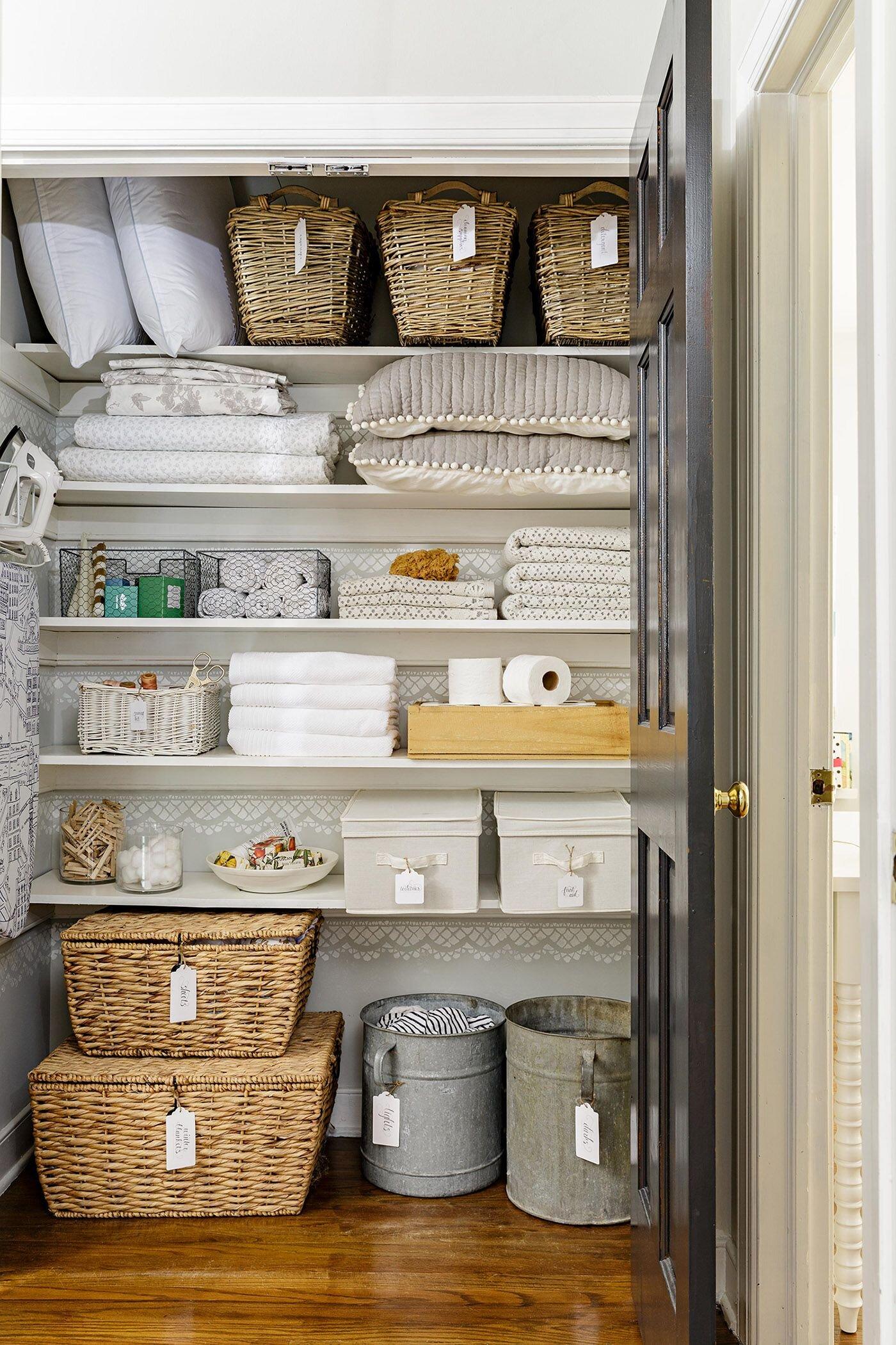Small Linen Cabinet Makeover Inspiration & Before — Katrina Blair ...