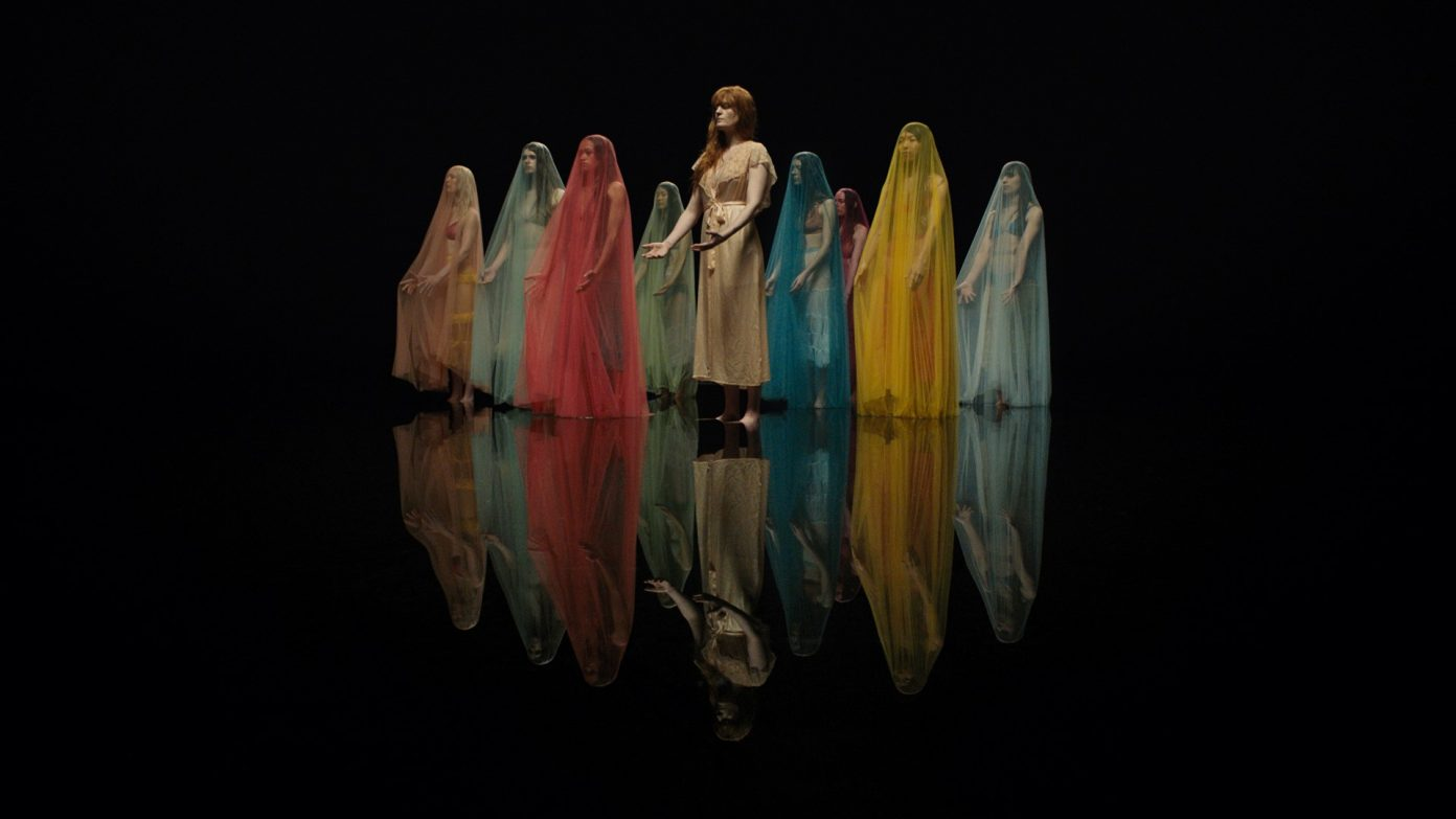 Custom made Veils for Florence and the Machine's Big God - 2018   Silk tulle veils for Florence and the Machine's dancers, styled by Vanessa Coyle