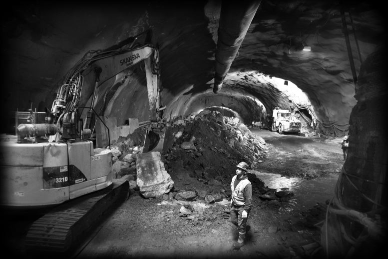 Black and White photo of tunnel construction Industrial photography by corporate photographer Michael Benabib.JPG